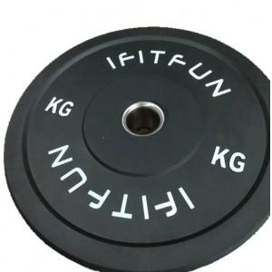 Бамперный диск для кроссфита черный Bamper Plate I Fit Fun-25 кг