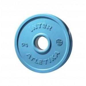 Диск обрезиненный цветной InterAtletika LCA031-M 5 кг