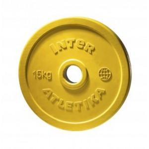 Диск обрезиненный цветной InterAtletika LCA033-M 15 кг