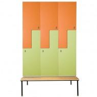 Трехсекционный фигурный шкаф для раздевалок со скамейкой, (2 ячейки) W-9D