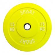 Бамперные диски цветные 15 кг Spart Bumper Plates Color 15 kg